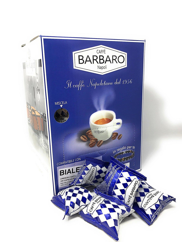 100 Capsule Caff Barbaro Arabica Dolce Compatibili Bialetti Espresso Machine Mokona Rossa Coffee