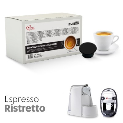 50 cialde capsule ristretto compatibili macchine lavazza for Nespresso firma